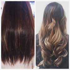 left before dark brown to pale blonde balayage ombré right