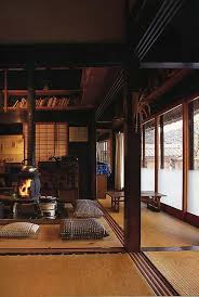 traditional japanese house design with stove interior