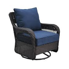 Patio Swings And Gliders Shop Allen Roth Glenlee Brown Wicker Swivel Glider Patio
