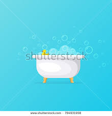 Foam Under Bathtub Bathtub Vector Illustration Relax Bathroom Interior Stock Vector