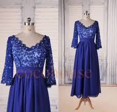 half sleeves royal blue lace applique beaded promdresses