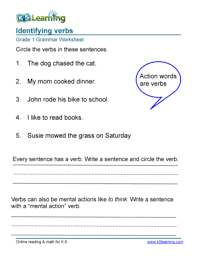 fillable online grade 1 grammar worksheet verbs grade 1 grammar