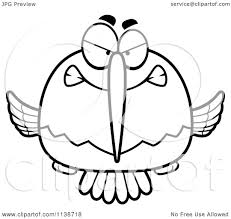 cartoon clipart of a black and white mean angry hummingbird