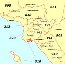 us area codes list wiki southern california