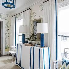White Curtains With Blue Trim Ribbon Trim Curtains Design Ideas
