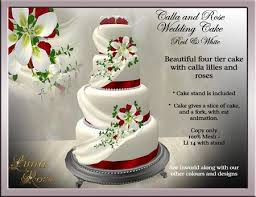 second life marketplace wedding cake calla u0026 rose red u0026 white