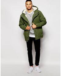Green Parka Jacket Mens D Struct Stirling Sherpa Lined Parka Jacket In Green For Men Lyst