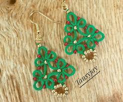 christmas tree drop earrings handmade tatting lace dangle