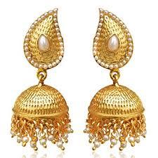 golden earrings buy tear drop mango jhumka jhumki south indian golden earrings