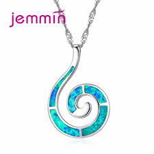 necklace girl images Jemmin sample design opal blue necklace with snail pendant for jpg