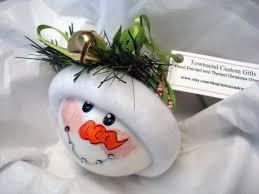 braces snowman ornament tree bulb painted glass