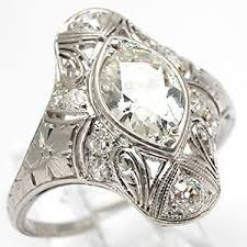 art deco old cut marquise diamond antique engagement ring so