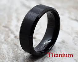 black titanium rings mens titanium ring etsy