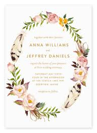 bohemian wedding invitations top 10 boho wedding invitations pretty florals feathers