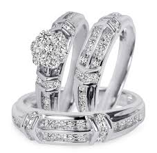 weddings 10k 1 1 10 carat t w diamond trio matching wedding ring set 14k white