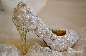 pearl wedding shoes new style fashion rhinestone pearl imitation honeymoon wedding