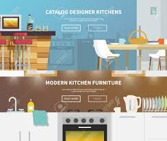 kitchen furniture catalog kitchen furniture horizontal banner set with flat design elements