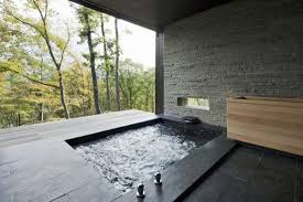 modern japanese bathroom design head shower on the gray paint wall