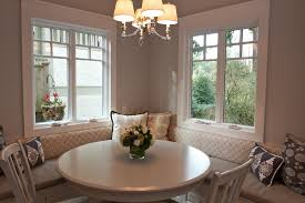 banquette with round table neutral cream dining room with round table also decorative banquette