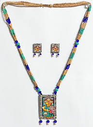 wood beads necklace designs images Ganesh with parvati jamini roy painting on terracotta pendant jpg