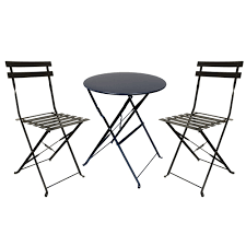 Bistro Patio Chairs Patio Furniture Set 3 Table And Chairs Set Black Finish