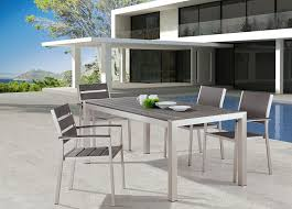 Aluminum Patio Dining Set Zuo Outdoor Metropolitan Brushed Aluminum Dining