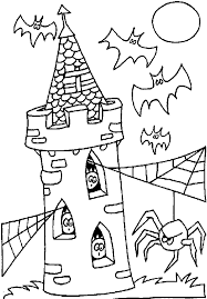 coloring tower hanuted bats ghosts spider picture