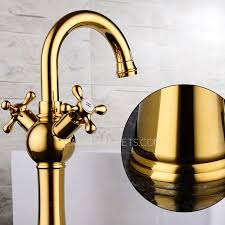 Polished Brass Kitchen Faucets by Shiny Polished Brass Two Cross Handles Single Hole Kitchen Faucet
