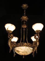 Antique Alabaster Chandelier Sergio Merlin