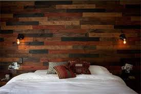 bedroom with reclaimed rustic wood panel for walls rustic wooden