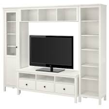 furniture white wooden media cabinet with open shelf and book