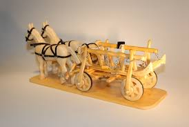 hand crafted wood horses and carriage home decor handcrafted