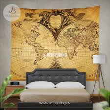 Bedroom Wall Tapestries Old World Map Wall Tapestry Historical World Map Wall Hanging