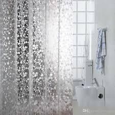 Solid Color Curtains 2018 3d Embossing Pvc Transparent Shower Curtains Cobblestone