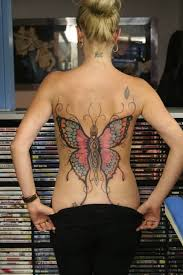 lower back cover up with colourful butterfly for