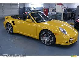 yellow porsche 911 2009 porsche 911 turbo cabriolet in speed yellow 773586