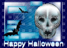 halloween background vector skull shaped circuit board and bats abstract halloween