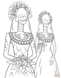 day of the dead skeleton brides coloring page free printable