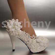 wedding shoes size 12 2 3 4 white ivory heels lace ribbon pearl wedding shoes