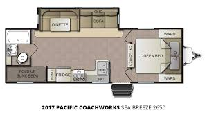 Travel Trailer Floor Plans With Bunk Beds by 2017 Pacific Coachworks Sea Breeze 2650 Travel Trailer U2013 Stock