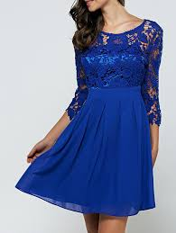 laciness cutwork chiffon cocktail club dress blue lace lace