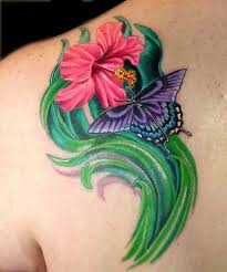 aaron goolsby tattoos part back hibiscus flower and