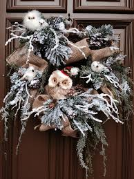 owl christmas wreath burlap ribbon on grapevine with winter pine
