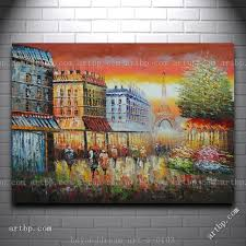 Dining Room Paintings by Online Shop People Walking On Evening Paris Street Oil Painting