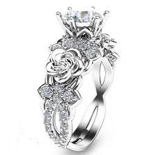 engagement rings silver images Created moissanite floral 925 sterling silver engagement ring jpg