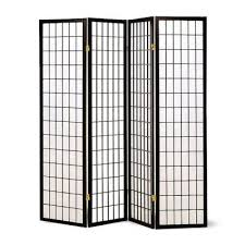 4 panel room divider 04bk wh ch nat u2014 futon trading