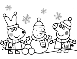 peppa rebecca making snowman coloring free