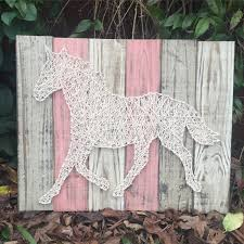 Equine Home Decor by Plank Board Horse String Art Rustic Home And Wall Decor Nursery
