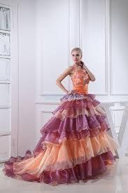 purple and orange wedding dress floor length halter gown organza orange purple wedding