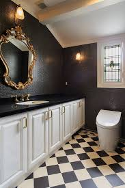 bathroom warm bathroom with floral pattern wallpaper also marble